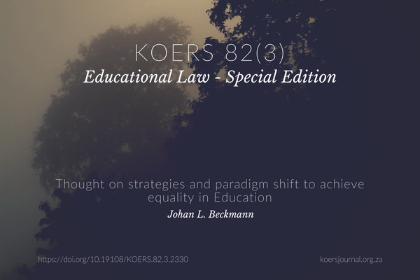 THOUGHTS ON STRATEGIES AND A PARADIGM SHIFT TO ACHIEVE EQUITY IN EDUCATION - Johan Beckman